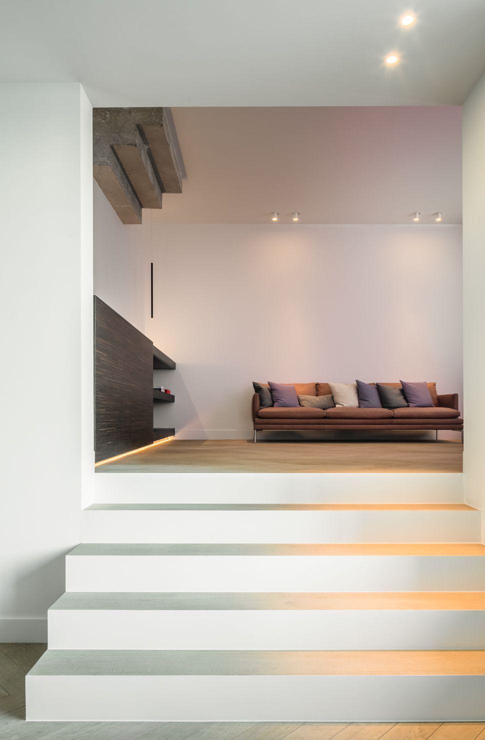 subtle lighting in a contemporary villa with ceiling adjustable apparent